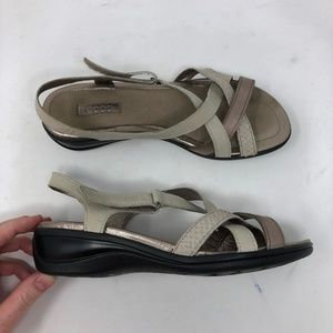 Ecco Womens Size 37 Beige Criss Cross Sandals NWOB